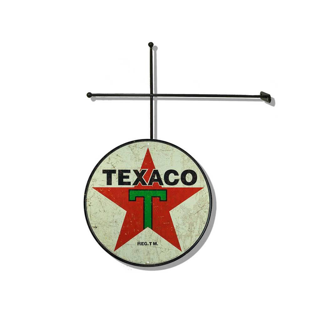 Placa Decorativa Texaco com Suporte em Metal - 30x30 cm