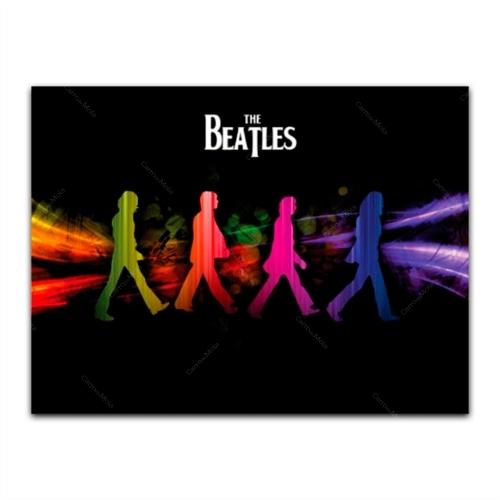 Placa Decorativa The Beatles Pop Grande em Metal - 40x30 cm