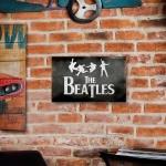 Placa Decorativa The Beatles Preto e Branco Grande em Metal