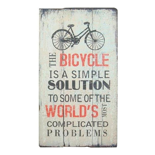 Placa Decorativa The Bicycle Is A Simple Solution em Madeira - 71x40 cm