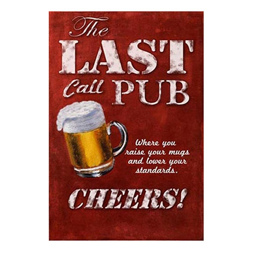 Placa Decorativa The Last Call Pub Grande em Metal - 30x20cm