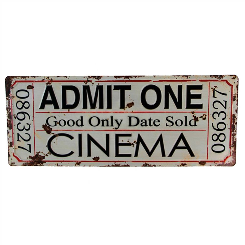 Placa Decorativa Ticket de Cinema Branco Vintage em Metal - 60x24 cm