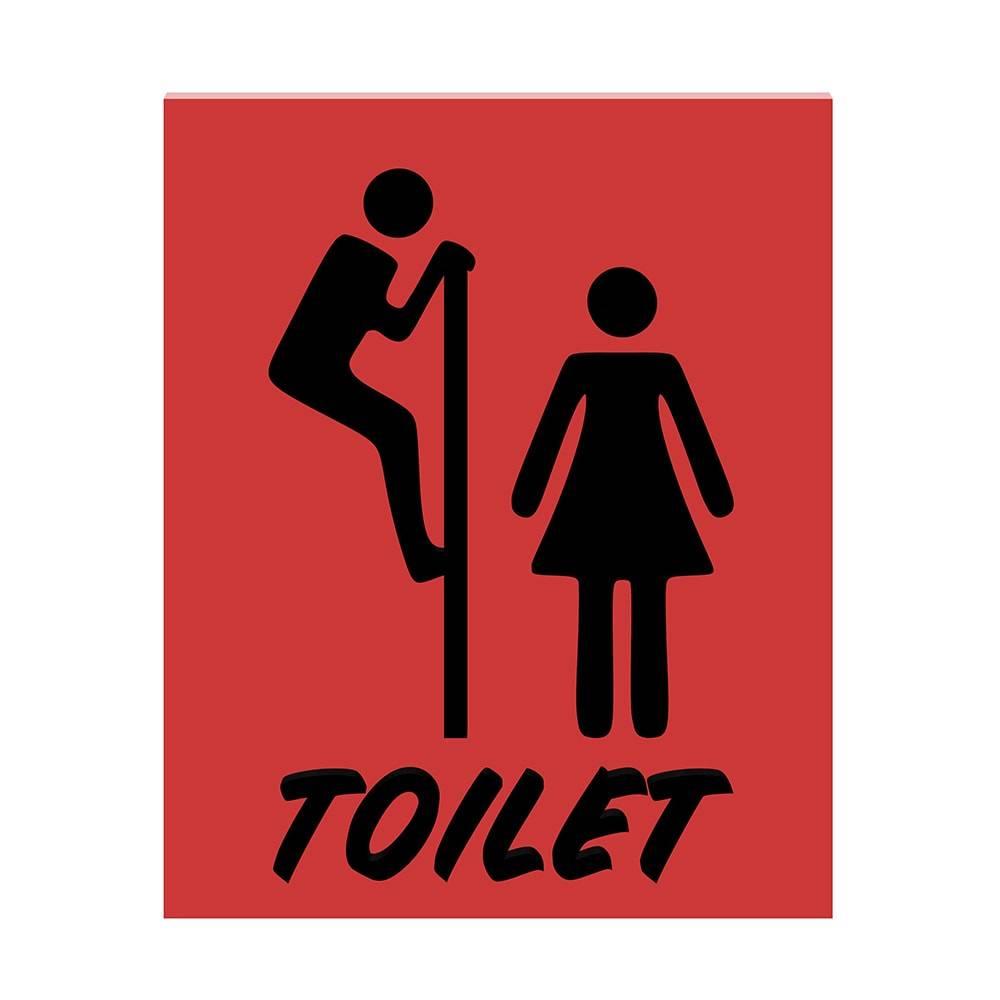 Placa Decorativa Toilet Vermelho e Preto em MDF - 22,8x18,3 cm