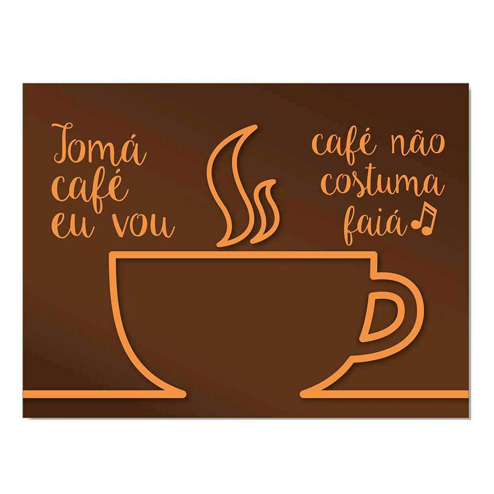Placa Decorativa Tomá Café Marrom com Impressão Digital em Metal - 30x20 cm