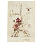 Placa Decorativa Torre Eiffel Paris Grande em Metal - 40x30cm