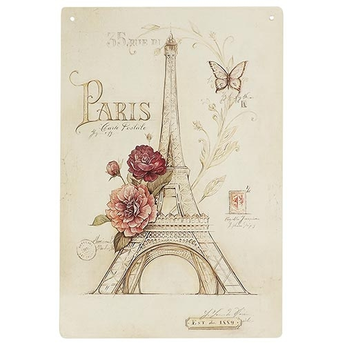 Placa Decorativa Torre Eiffel Paris Média em Metal - 30x20cm