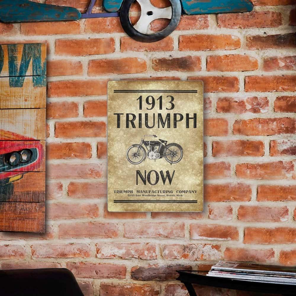 Placa Decorativa Triumph 1913 Marrom e Preto Grande em Metal - 40x30 cm