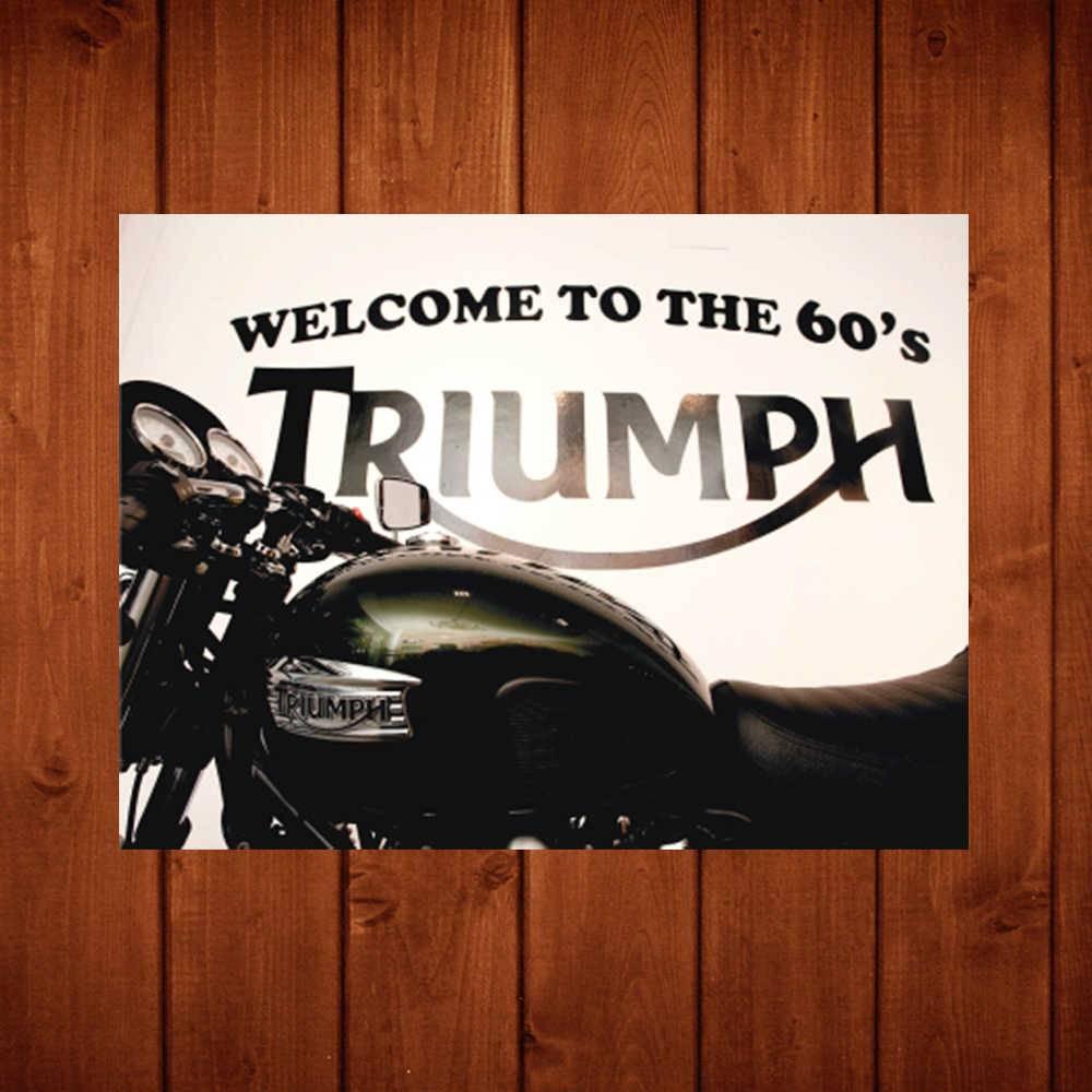 Placa Decorativa Triumph 60s com Impressão Digital em Metal - 40x30 cm