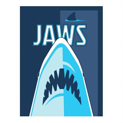 Placa Decorativa Tubarão Azul Grande em Metal -  40x30 cm