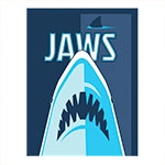 Placa Decorativa Tubarão Azul Média em Metal - 30x20 cm