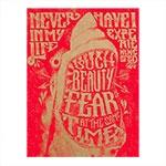 Placa Decorativa Tubarão Vermelho Média em Metal - 30x20 cm