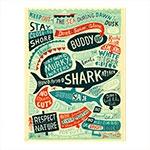 Placa Decorativa Tubarão Vintage Média em Metal - 30x20 cm