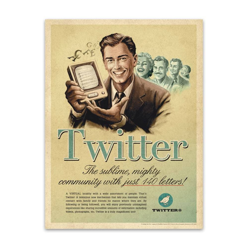 Placa Decorativa Twitter Vintage em Metal - 40x30cm