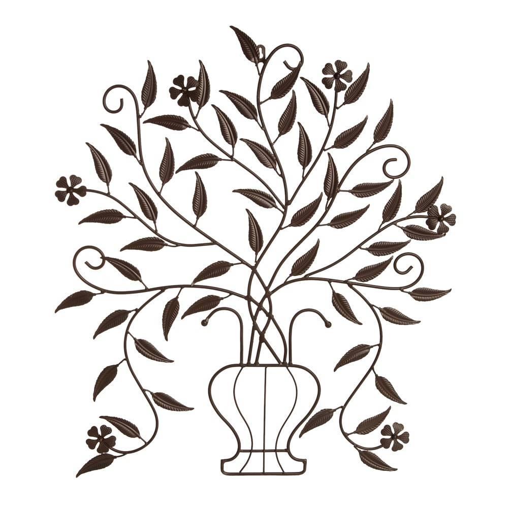 Placa Decorativa Vaso de Flores Vazada em Ferro - 74x63 cm