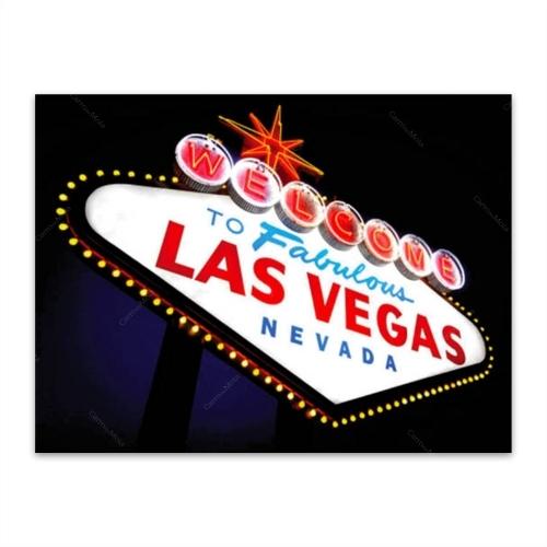 Placa Decorativa Vegas 2 Grande em Metal - 40x30 cm