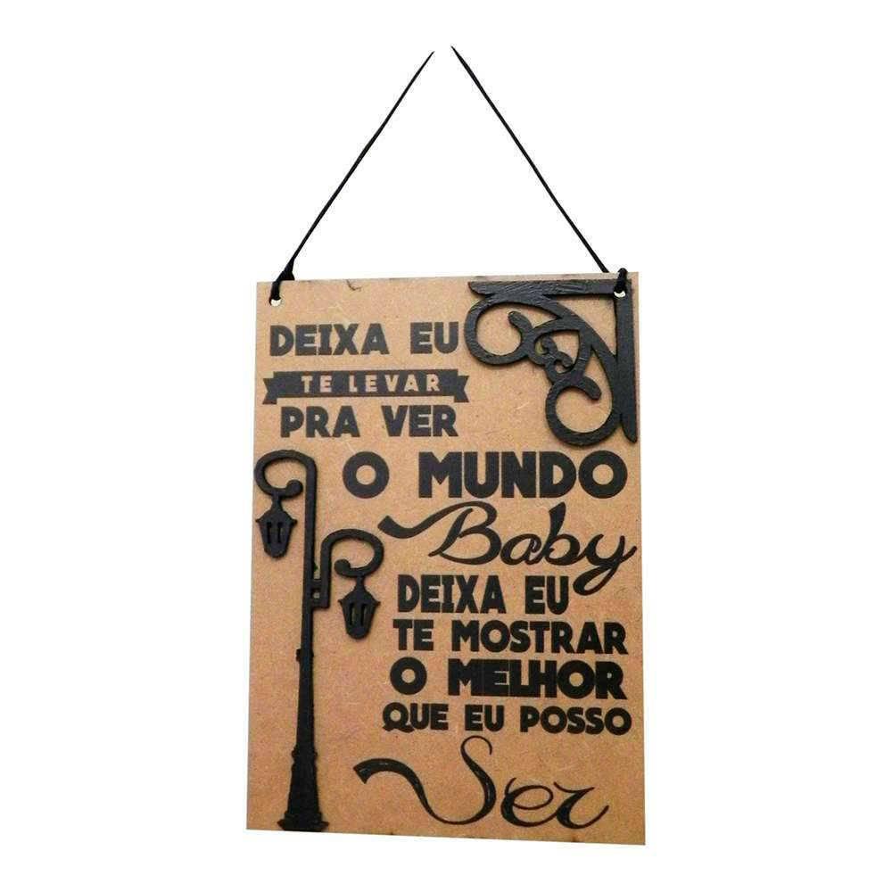 Placa Decorativa Ver o Mundo em MDF Cru com Apliques - 40x14 cm