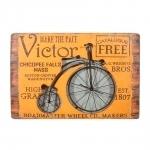 Placa Decorativa Victor Bike em Madeira - 60,8x41,7 cm