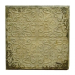 Placa Decorativa Vintage Bege em Metal - 62x62 cm