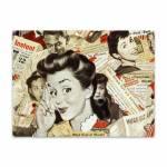 Placa Decorativa Vintage Girl Média em Metal - 30x20cm