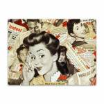 Placa Decorativa Vintage Girl em Metal - 40x30cm