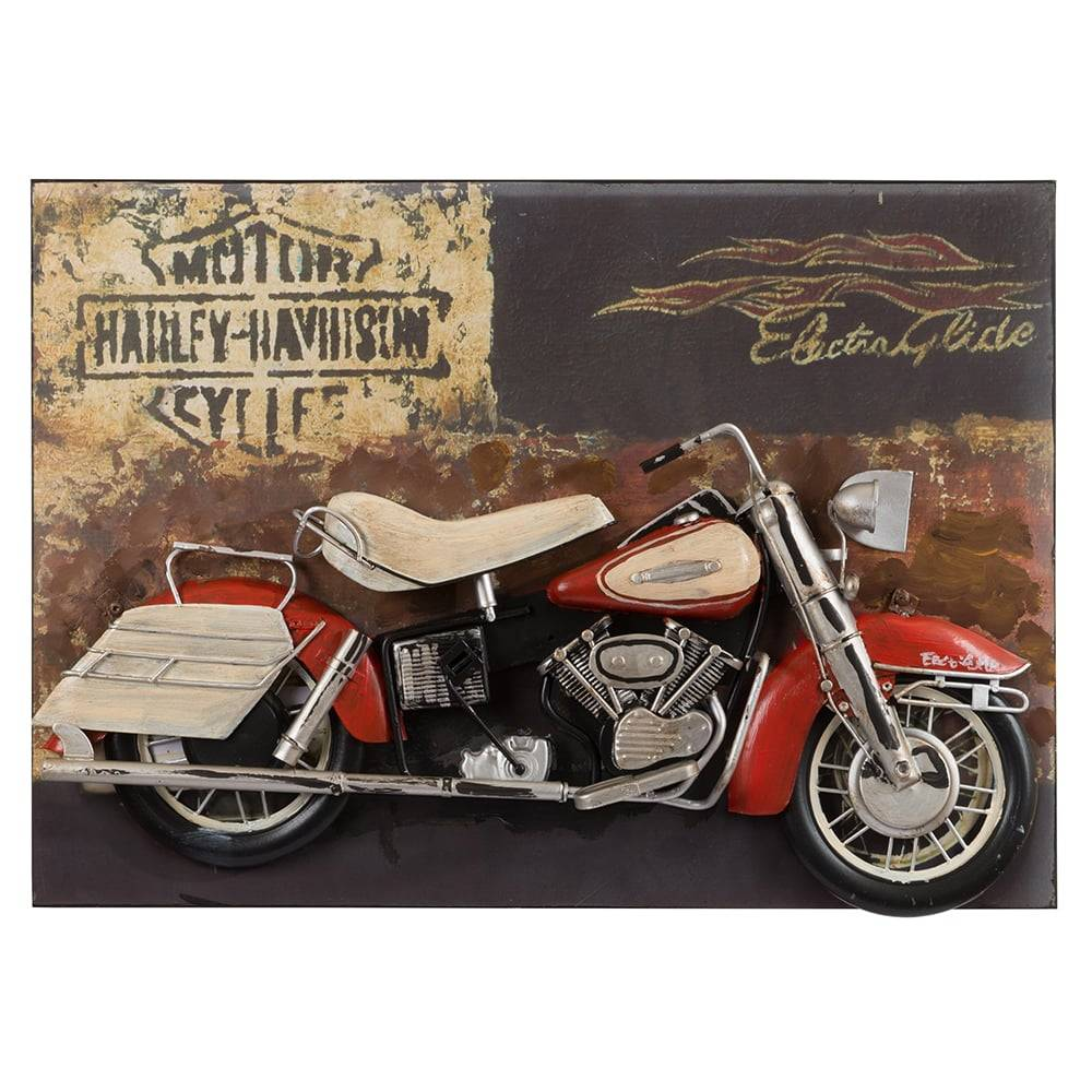 Placa Decorativa Vintage Harley Davidson Electro Glide em Ferro - 45x32 cm