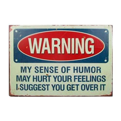 Placa Decorativa Warning em Metal - 35x28 cm