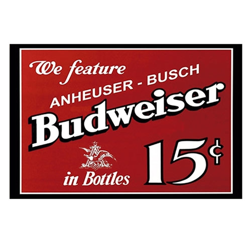 Placa Decorativa We Feature Budweiser Média em Metal - 30x20cm