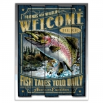 Placa Decorativa Welcome Fish Azul Média em Metal - 30x20 cm
