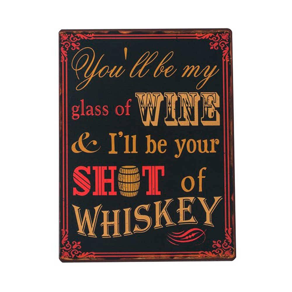 Placa Decorativa Whiskey Fundo Preto em Metal - 35x26 cm