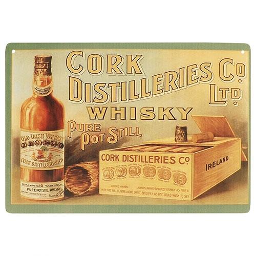 Placa Decorativa Whisky Cork Média em Metal - 30x20cm