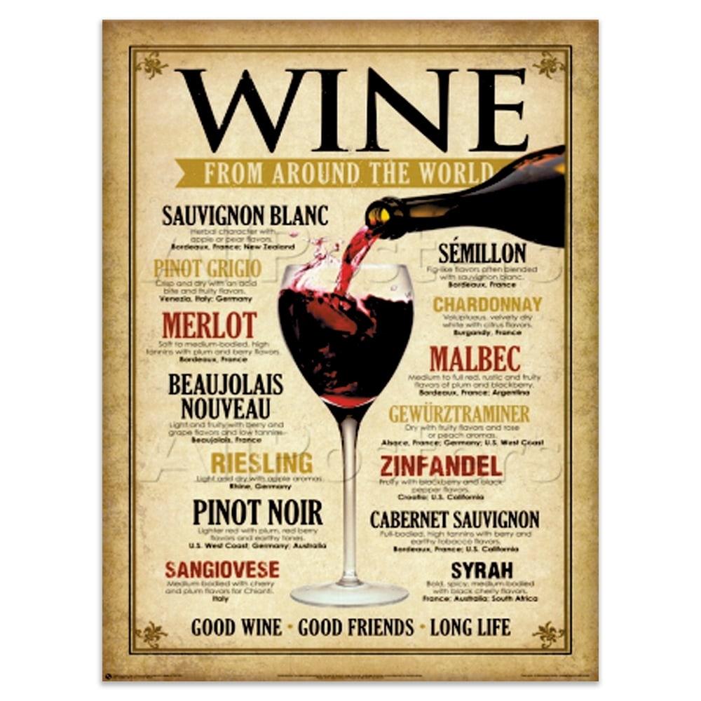 Placa Decorativa Wine World Bege Grande em Metal - 40x30 cm