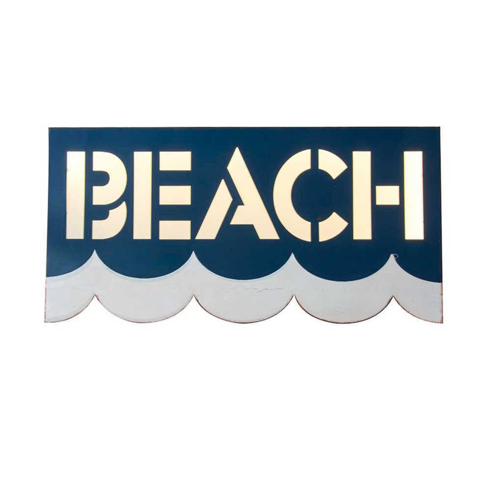 Placa Decorativoa Beach Azul e Branca em Metal - 61x30 cm