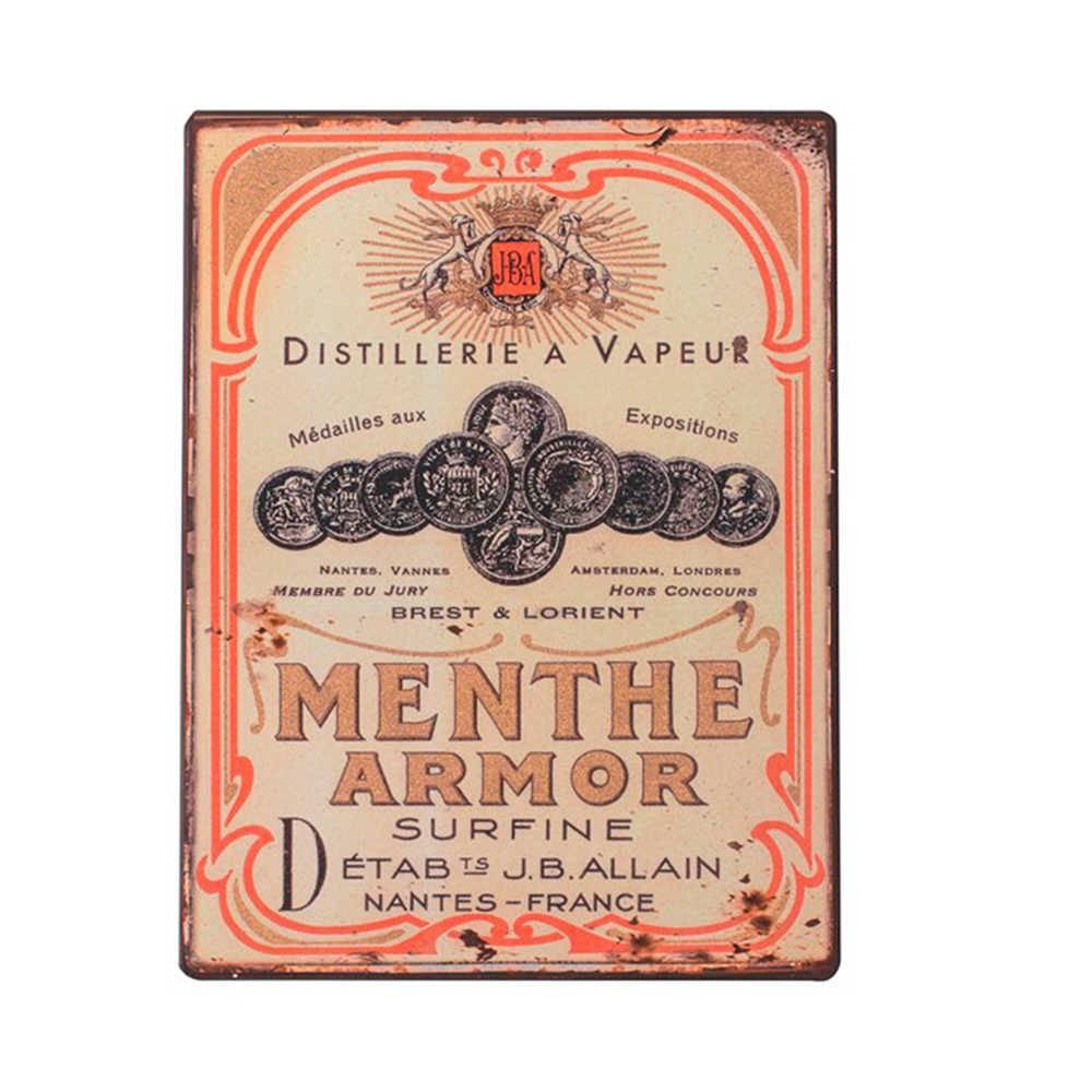Placa Distillerie a Vapeur com Fundo Bege em Metal - 35x26 cm