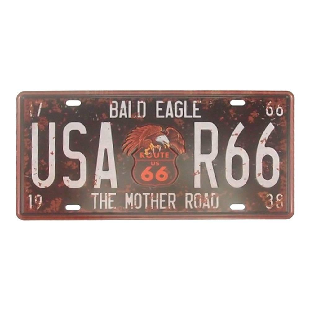 Placa Eagle USA Route 66 Preto em Alumínio - 30x15 cm