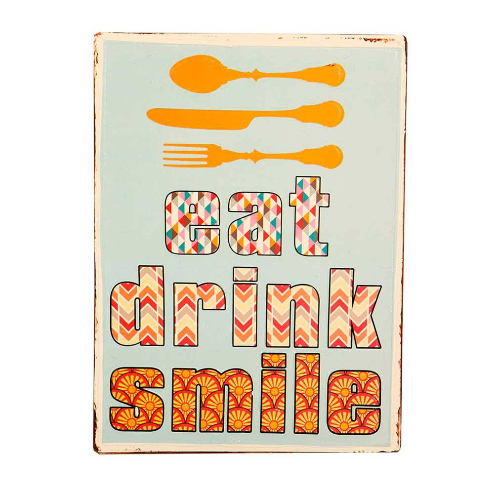 Placa Eat Drink Smile em Metal - 35x26 cm