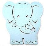 Placa Elefante Azul Bebê - Tema Infantil -  MDF Vazado - 30x31 cm