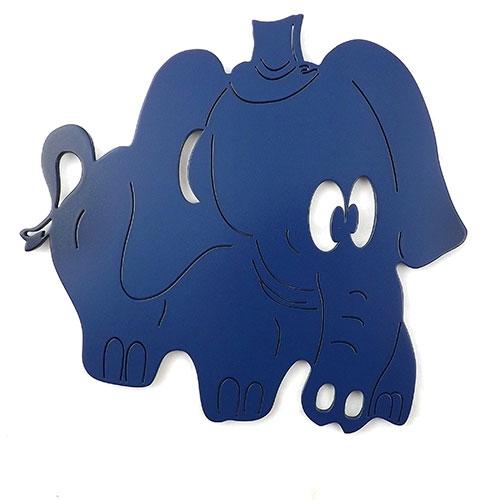 Placa Elefante Azul - Tema Infantil -  MDF Vazado - 36x32 cm