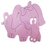 Placa Elefante Roxo - Tema Infantil - MDF Vazado - 36x32 cm