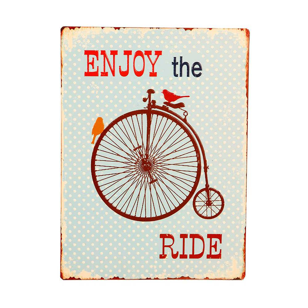 Placa Enjoy The Ride em Metal - 35x26 cm