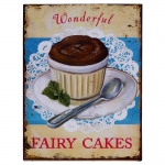 Placa Fairy Cakes Wonderful Vintage Colorida em Metal - 33x25