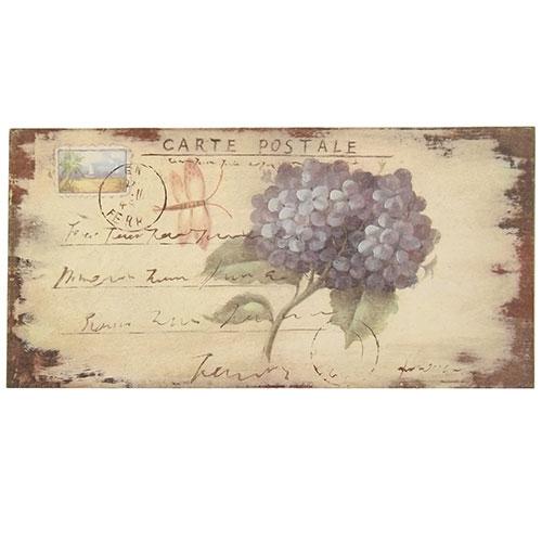 Placa Flor Ortência / Carta Postal - Madeira Estampada - 31x15 cm