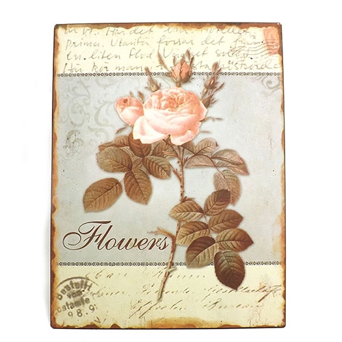 Placa Flowers Oldway - Metal Estampado - 25x33 cm