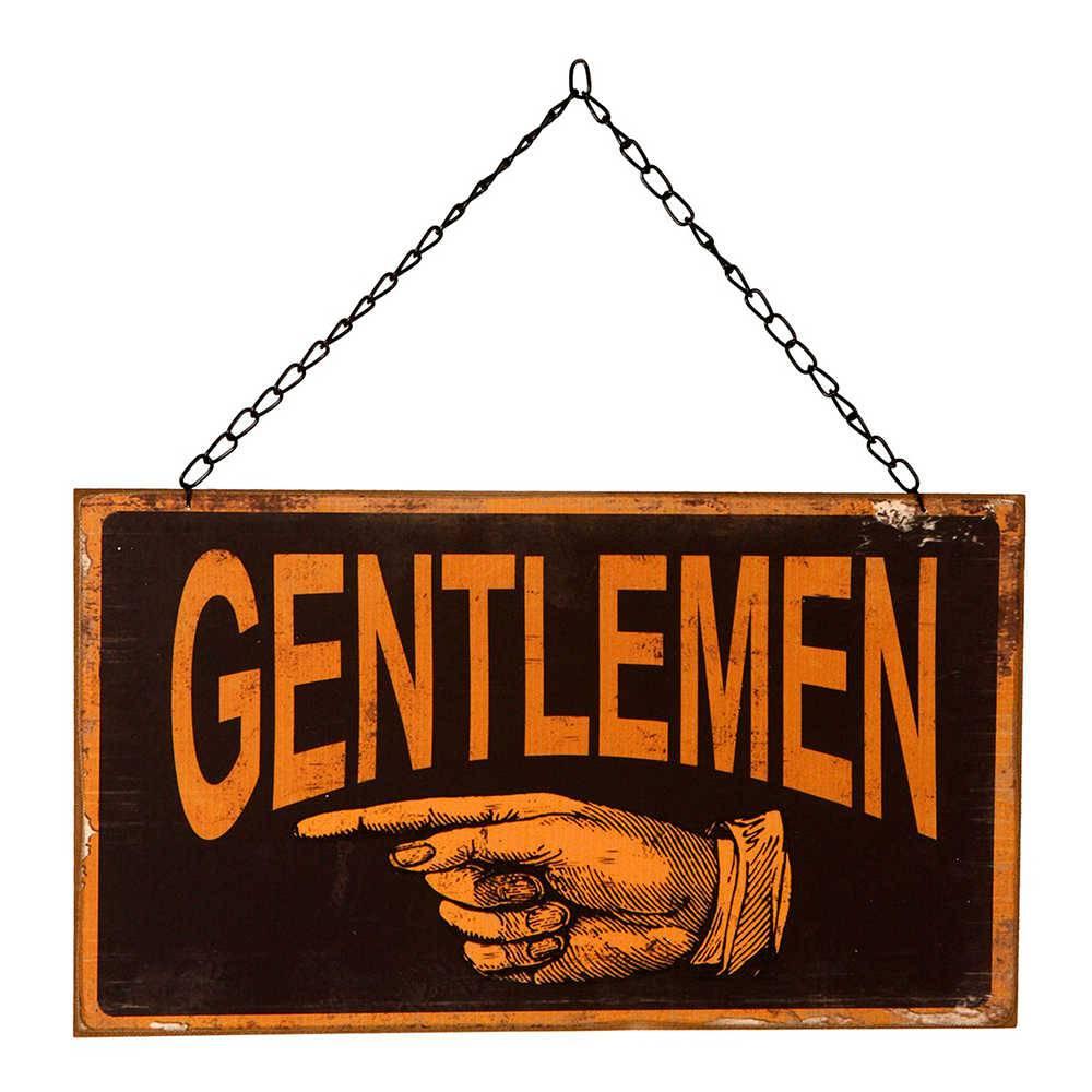 Placa Gentlemen em Metal - 33x24 cm