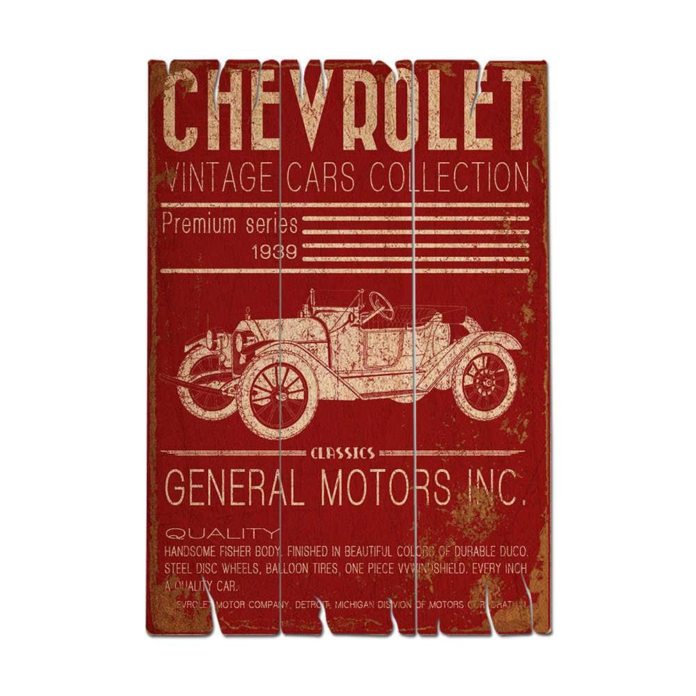 Placa GM Jalopy Vintage Cars Collection Vermelho em Madeira - Urban - 50x35 cm