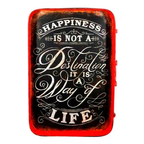 Placa Happiness Is Not A Destination It Is A Way Life em Metal - 60,5x42,5 cm