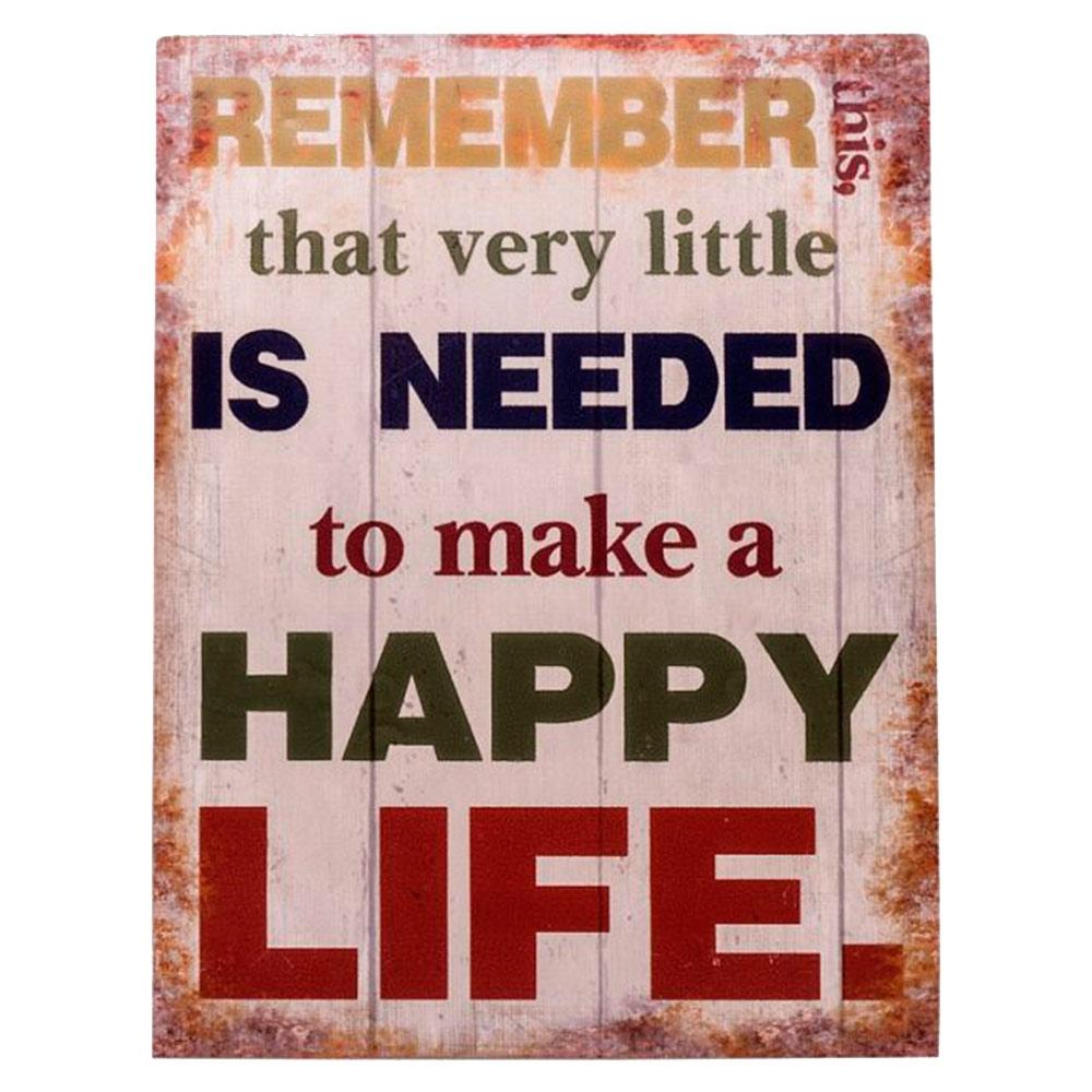 Placa Happy Life em Canvas Pintada - 33x25 cm