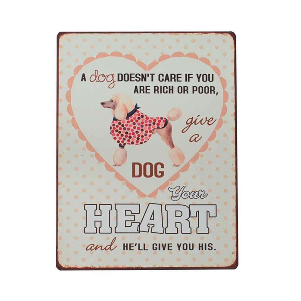 Placa Heart Poás Rosa em Fundo Branco em Metal - 35x26 cm