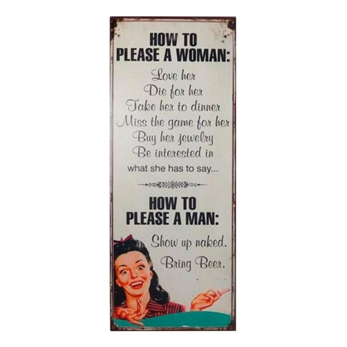 Placa How To Please a Woman em Metal - 76x30,5 cm