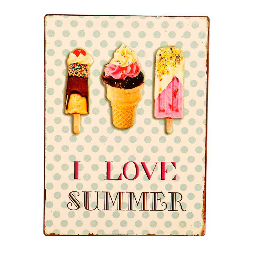 Placa I Love Summer em Metal - 35x26 cm
