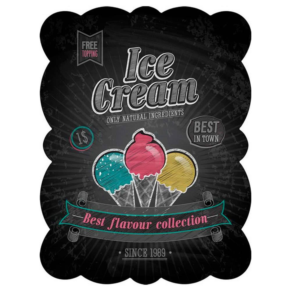Placa Ice Cream Preto em Metal - Urban - 33x25 cm